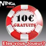 Bonus sans dépôt : 10 euros gratuit sur Winga poker France