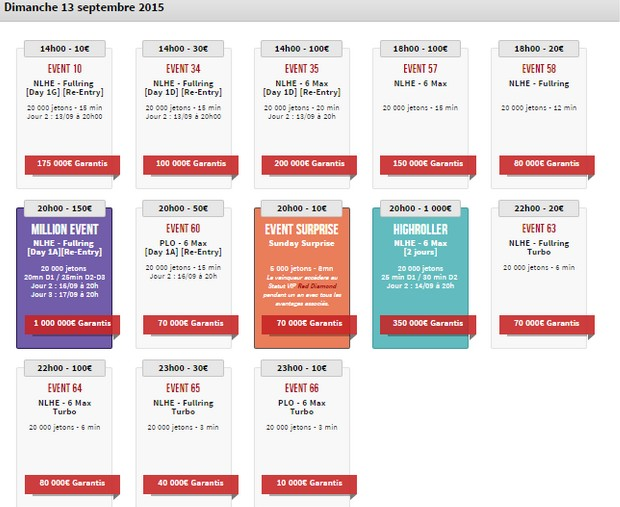 Winamax Series : le calendrier