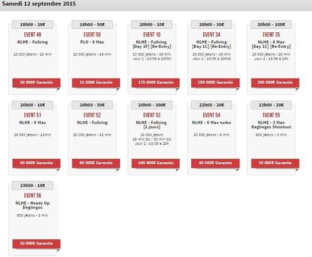 Le calendrier des Winamax Series