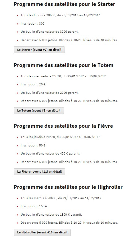 Winamax Poker Tour : les satellites des Side Events