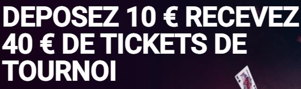 40€ offerts pour votre premier dépôt sur PokerStars