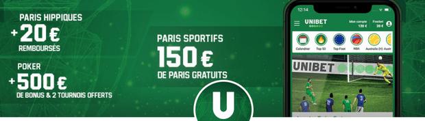 150 euros de bonus paris sportifs sur Unibet